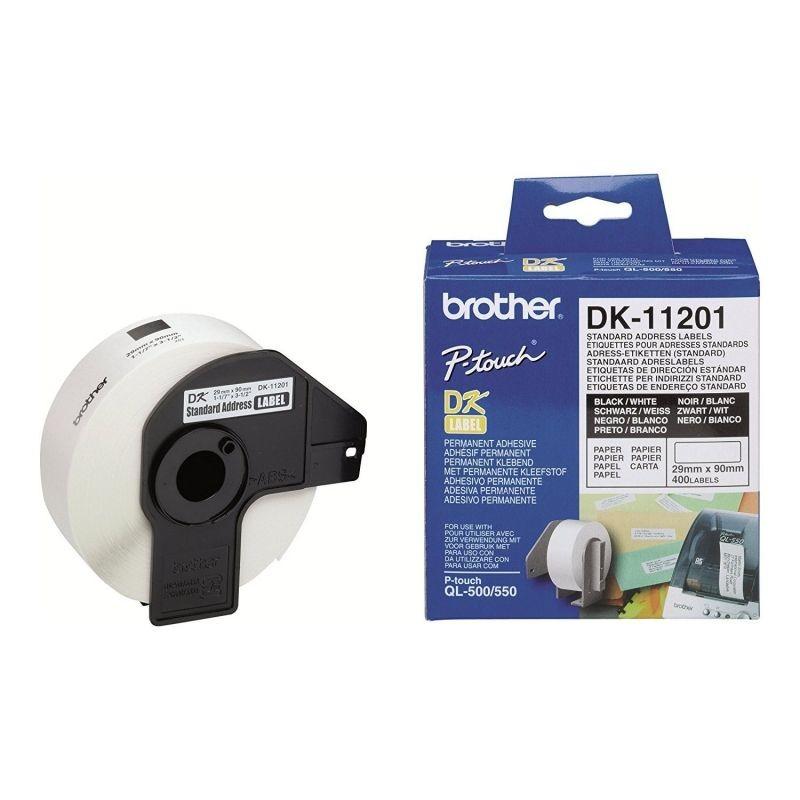Etiquetas térmicas brother dk11201 - 29mm x 90mm - 400 etiquetas blancas