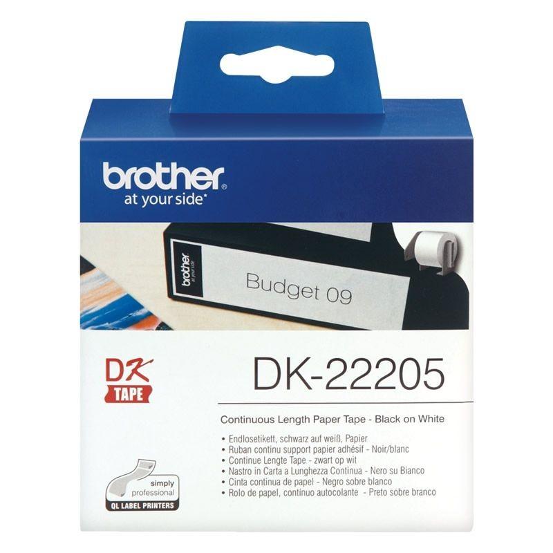Cinta continua de papel térmico brother dk22205 - blanca - ancho 62mm - longitud 30.48m - compatible según especificaciones