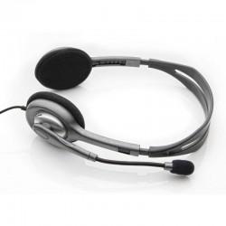 Auriculares logitech h110/ con micrófono/ jack 3.5/ plateados