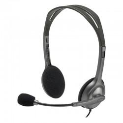 Auriculares logitech h111/ con micrófono/ jack 3.5/ negros