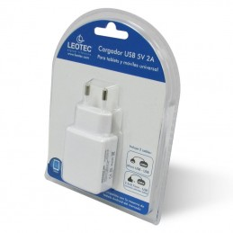 Cargador de pared leotec lectabusbw/ usb + cable microusb y 2.5mm / 2a