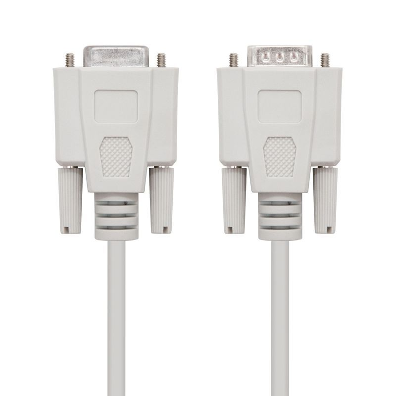 Cable serie null modem nanocable 10.14.0503 - conectores db9 macho - db9 hembra - 3m - beige