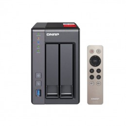 Nas qnap ts-251+-2g - 2 bahías (3.5/2.5) - cpu intel j1900 2.0ghz - 2gb ddr3l - 2*gigabit ethernet - 2*usb 2.0 - 2*usb 3.2 gen1