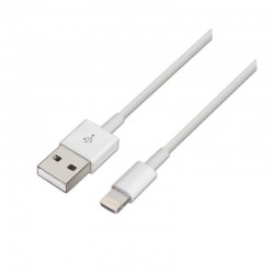 Cable usb 2.0 lightning aisens a102-0035/ usb macho - lightning macho/ 1m/ blanco