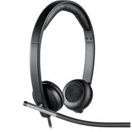 Auriculares logitech h650e/ con micrófono/ usb/ negros