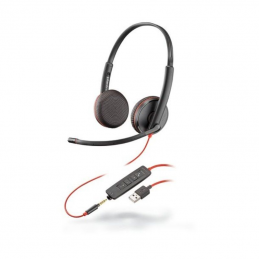 Auriculares plantronics blackwire c3225/ con micrófono/ jack 3.5/ usb/ negros