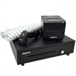Pack approx apppospack4180 cajón portamonedas/ impresora termica/ lector de codigos y rollos termicos