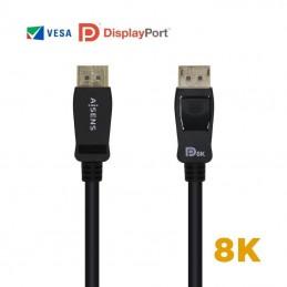 Cable displayport 1.4 8k aisens a149-0432/ displayport macho - displayport macho/ 2m/ certificado/ negro