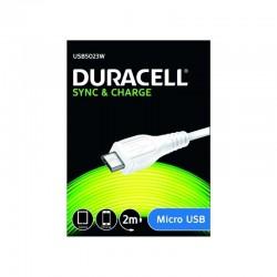Cable duracell usb5023w usb-micro usb - para carga y sincronización - 2 metros - color blanco