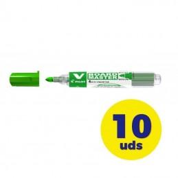 Caja de rotuladores de punta de fibra para pizarra pilot v board master/ 6mm/ 10 unidades/ verdes