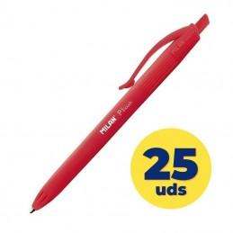 Caja de bolígrafos de tinta de aceite retráctil milan p1 touch mln176512925/ 25 unidades/ rojos