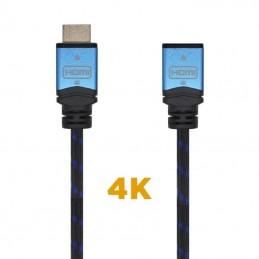 Cable alargador hdmi aisens a120-0453/ hdmi macho - hdmi hembra/ 2m/ negro/ azul