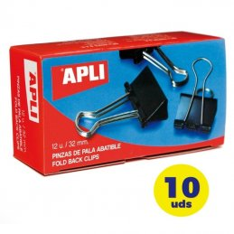 Pack de 10 cajas de 12 pinzas sujetapapeles abatibles apli 11950/ 32 mm/ negras