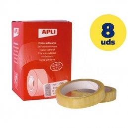 Caja de cintas adhesivas transparentes apli 11266/ 1.9cm x 66m/ 8 unidades