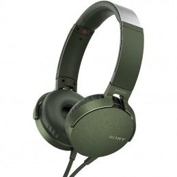 Auriculares sony mdr-xb550ap extra bass/ con micrófono/ jack 3.5/ verdes