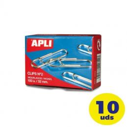 Pack de 10 cajas de 100 clips nº2 apli 11714/ plata