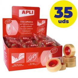 Caja de cintas adhesivas transparentes apli 11103/ 1.9cm x 33m/ 35 unidades
