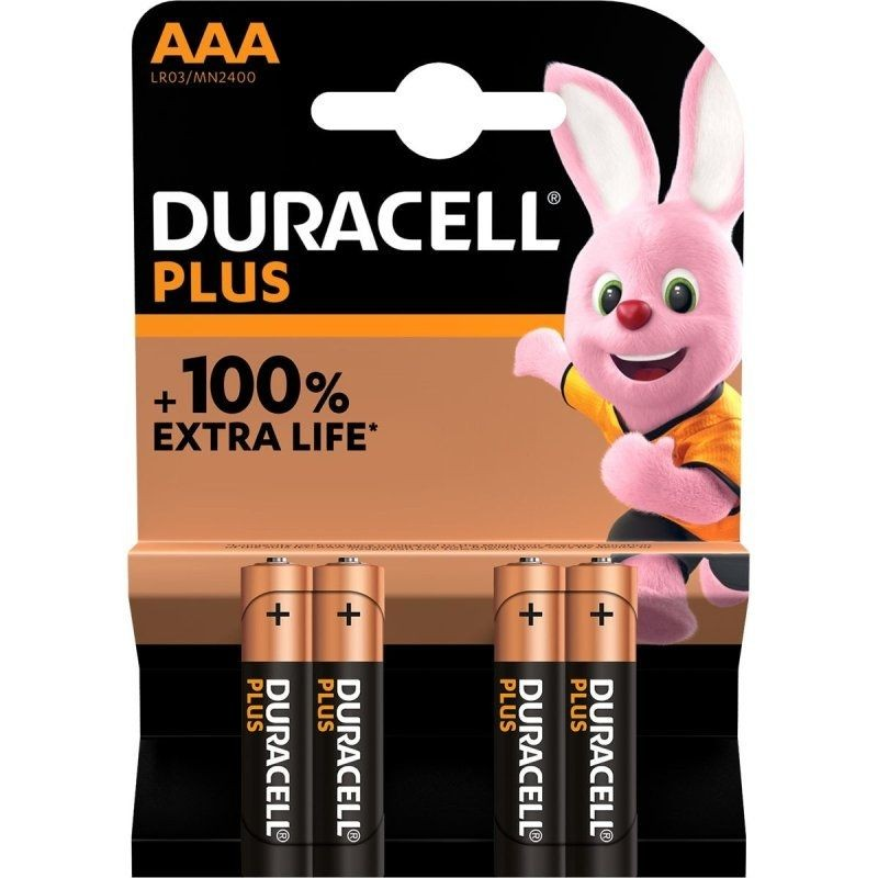 Pack de 4 pilas aaa duracell plus mn2400/ 1.5v/ alcalinas