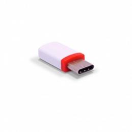 Adaptador micro usb 3go a201 micro usb hembra - usb tipo-c macho/ blanco y rojo