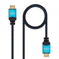 Cable hdmi nanocable 10.15.3701 - v2.0 - conectores hdmi (tipo a) macho - multiple apantallamiento y recubrimiento nylon - 1m -