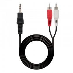 Cable estéreo nanocable 10.24.0303/ jack 3.5 macho - 2x rca macho/ 3m/ negro