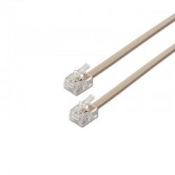 Cable de teléfono rj11 6p4c aisens a143-0317/ 2m/ beige