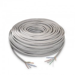 Bobina de cable aisens a135-0261 - rj45 - cat 6 - utp - awg24 rígido - 100m - gris