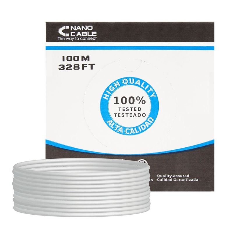 Bobina de cable nanocable 10.20.0502 - rj45 - cat6 - utp - awg24 - 100m - gris