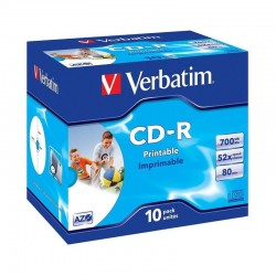 Cd-rom imprimibles verbatim superazo wide print surface id 52x 700mb 10 unidades
