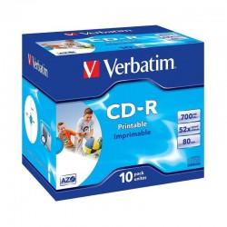Cd-r verbatim azo imprimible 52x/ caja-10uds