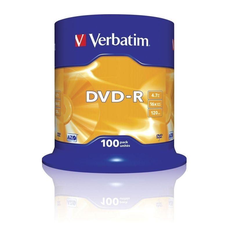 Dvd-r verbatim advanced azo 16x 4.7gb tarrina 100 unidades