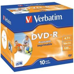 Dvd-r verbatim imprimible pack 10 uds 16x jewel case