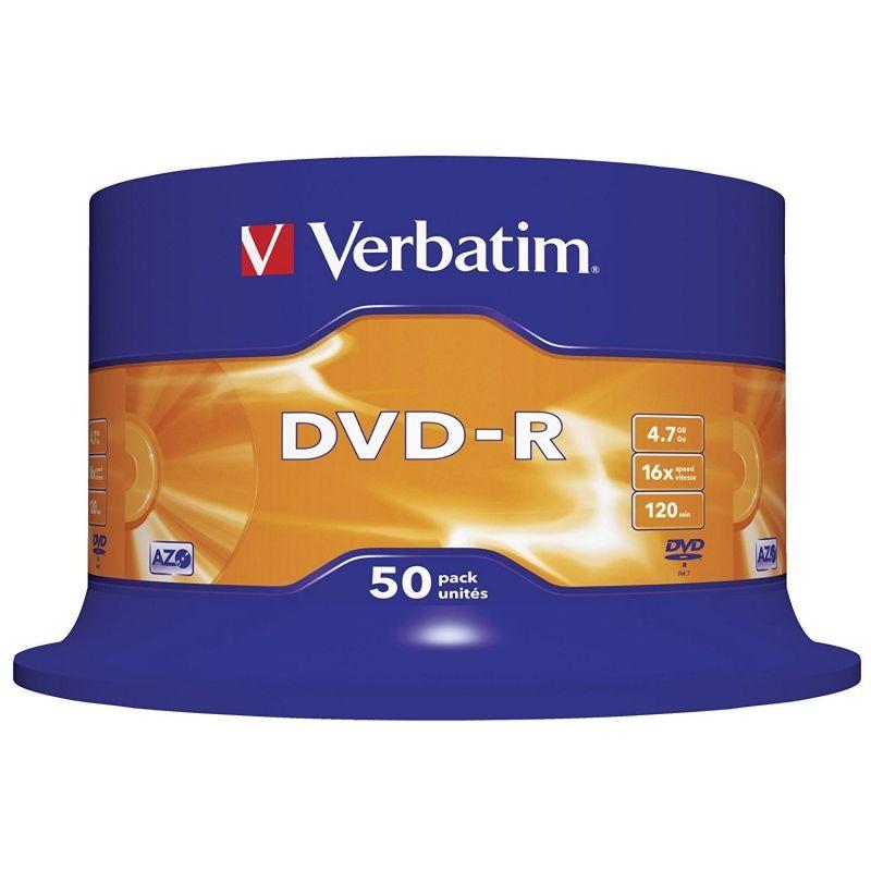 Dvd-r verbatim advanced azo 16x 4.7gb tarrina 50 unidades