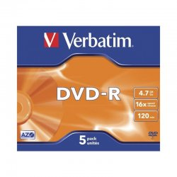 Dvd-r verbatim advanced azo 16x/ caja-5uds