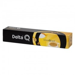 Caja de 10 cápsulas de café delta breaqfast - dulzura e intensidad ideal - compatibles con cafeteras delta