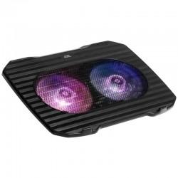 Soporte refrigerante mars gaming mnbc0 - para portátiles hasta 15.6'/39.6cm - 2*ventiladores - iluminación rgb flow - usb