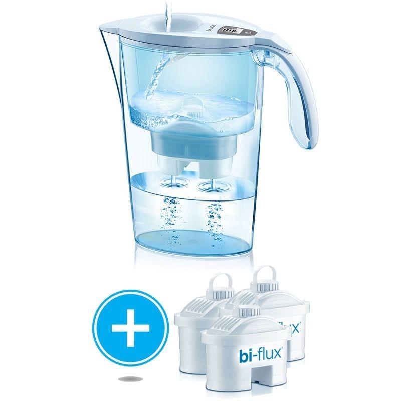 Pack jarra filtrante laica stream line/ 2.3l/ blanca/ jarra + 3 filtros bi-flux