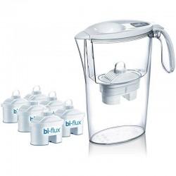 Pack jarra filtrante laica stream line color edition blanca + 6 filtros bi-flux - capacidad 2.3l - filtro desmontable con