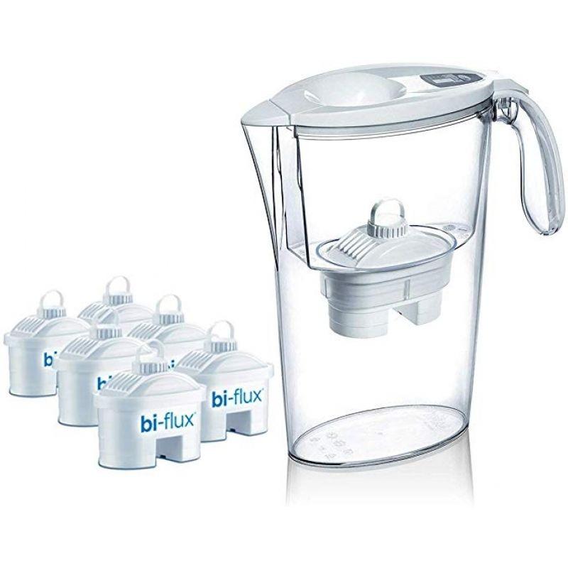 Pack jarra filtrante laica stream/ 2.3l/ blanca/ jarra + 6 filtros bi-flux