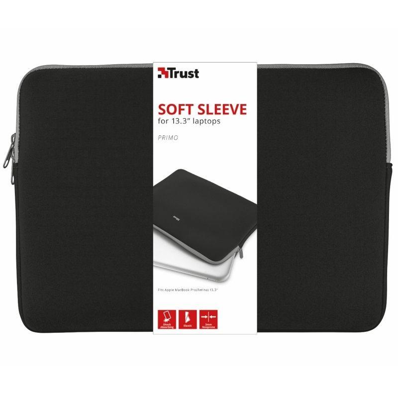 Funda de portatil trust primo hasta 13.3'/33.7cm/sleeve/negra - neopreno viscoelastico - diseño delgado - suave y ligera