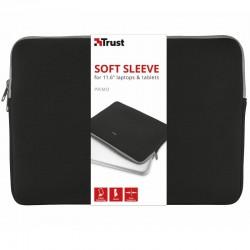 Funda para portátiles y tablets trust negra primo sleeve/hasta 11.6'/28.7cm - neopreno viscoelastico - diseño delgado - suave y