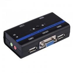 Kvm aisens a111-0064 - 2 ordenadores con un solo teclado / ratón / monitor / altavoces - vga - usb - jack 3.5