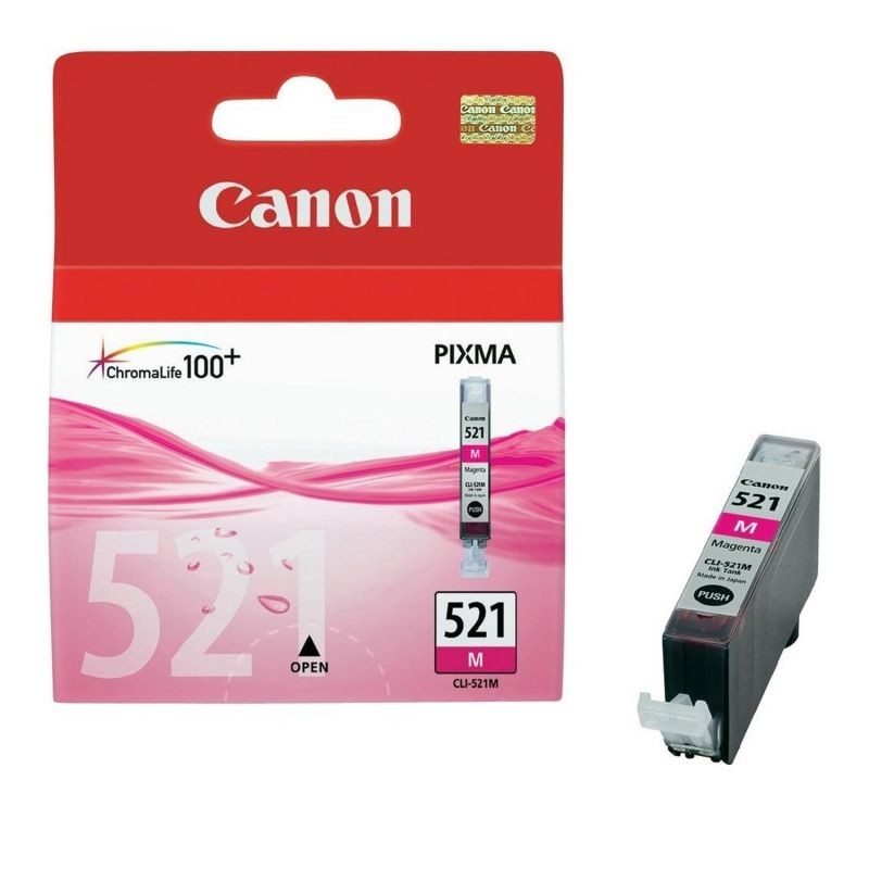 Cartucho de tinta original canon cli-521m/ magenta