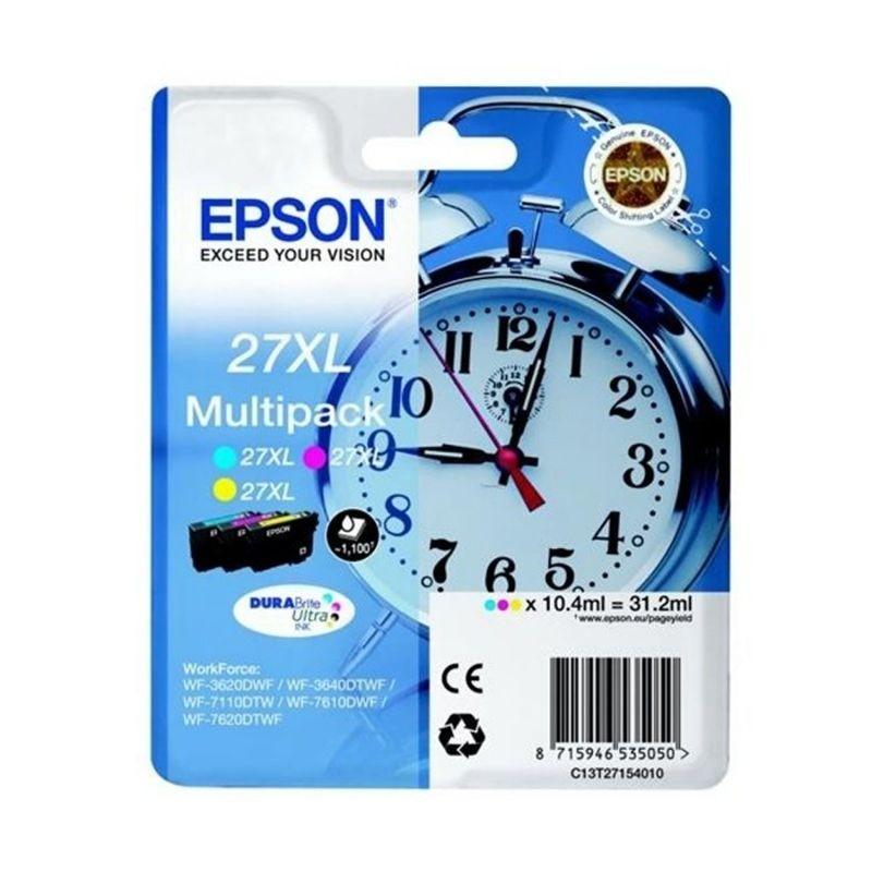 Cartucho tinta epson multipack 27xl - amarillo / cian / magenta - 31.2ml - despertador