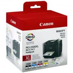 Multipack 4 cartuchos tinta canon pgi-2500xl - alta capacidad - cian - magenta - amarillo - negro - compatible con maxify