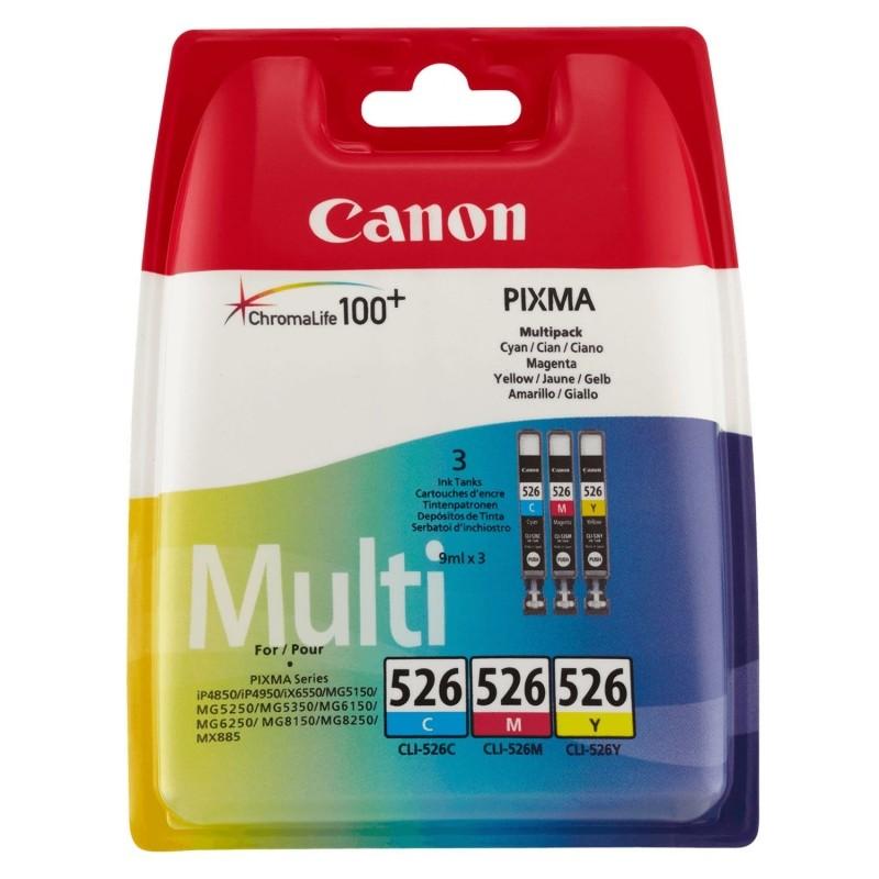 Multipack 3 cartuchos tinta canon cli-526 - 1x cian - 1x magenta - 1x amarillo - compatible con