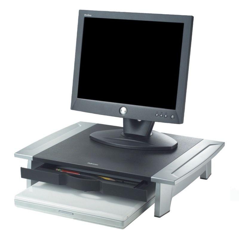 Soporte monitor fellowes office suites - evita tensiones de cuello - pantallas hasta 36kg - 5 alturas - bandeja organizadora