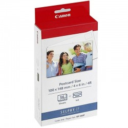 Multipack canon kp-36ip cartucho tinta color + papel fotográfico 100*148mm - 36 hojas - compatibilidad según características