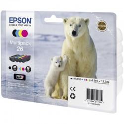 Cartucho tinta epson multipack 26 - 19.7ml - 4 colores (negro / amarillo / cian / magenta ) - oso polar