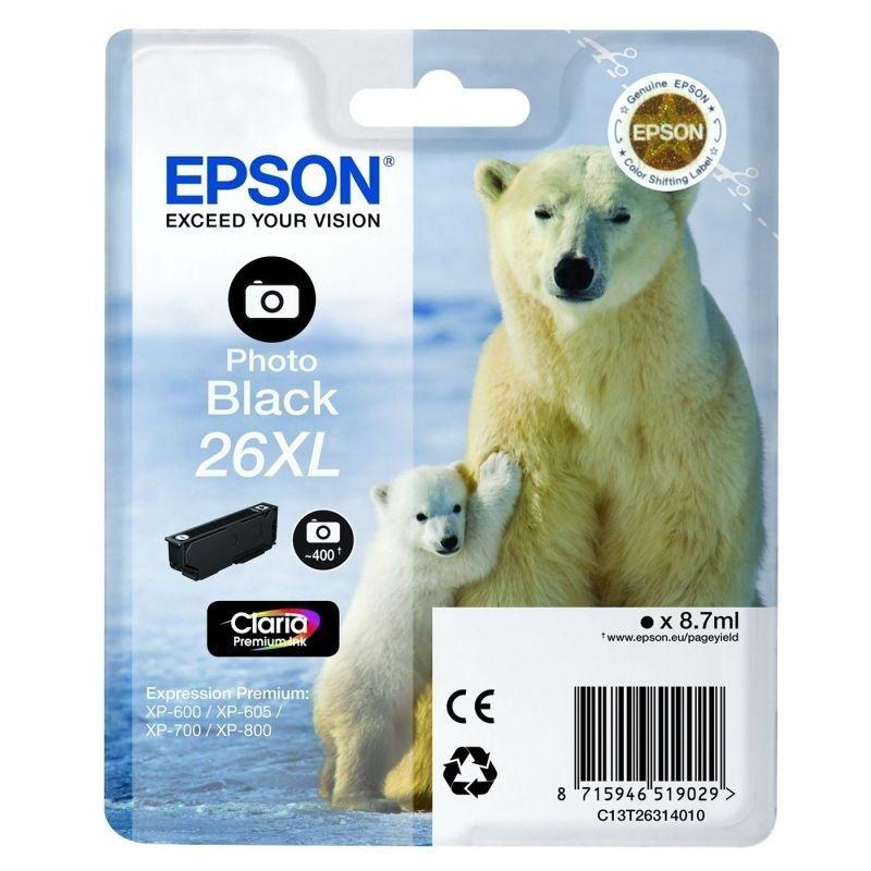 Cartucho epson  26xl 8.7ml negro foto - oso polar
